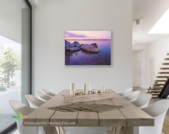 Lovely Canvas Wall Art Mockup Template (Styled Stock Photography), 3 To 4 Ratio,  3:4 Landscape Horizontal Orientation, Modern Dining Room