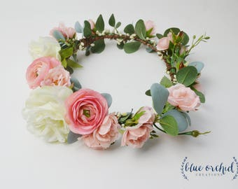 Flower Crown, Boho Wedding, Green Flower Crown, Pink, Floral Crown, Eucalyptus Crown, Flower Hair Accessory, Wedding Crown, Eucalyptus