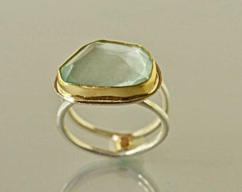 Aquamarine Ring, Gold and Silver Aquamarine, Large Natural Aquamarine Ring, Rose Cut Aquamarine Ring, March Birthstone,Made to Order