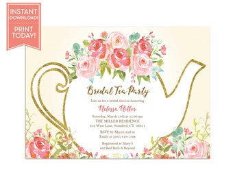 Tea Party Invitation Template Floral Teapot Bridal Shower - Bridal tea party invitation template