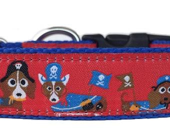 Dog Pirates Ribbon Dog Collar