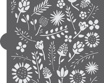Woodland Flora Basic Background Cookie Stencil by Confection Couture