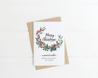 Printable Christmas Card - Merry Christmas, Greeting Cards, Digital Download, Digital, Holiday, Seasonal Greeting Card
