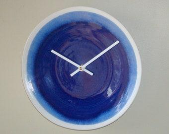 Ocean Blue Ceramic Plate Wall Clock, 9-1/2 Inch Silent Kitchen Clock, Unique Wall Clock, Blue Kitchen Decor - 2511