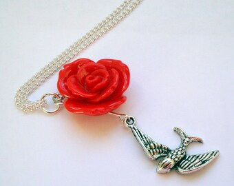 Swallow necklace - red rose, silver swallow charm, vintage inspired style