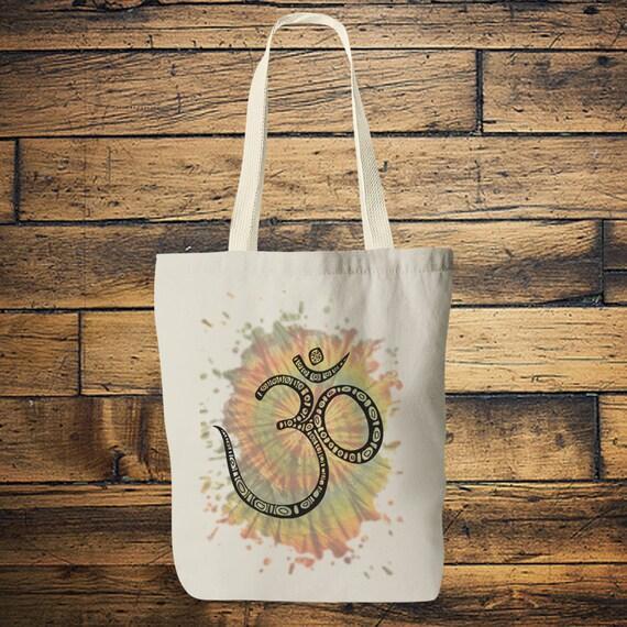 TIEDYE OM TOTE - Yoga bag - Mandala - Hippie bag - Screen print - Back to school - Yoga - Tote Bag - Bag for Life - Boho - Student