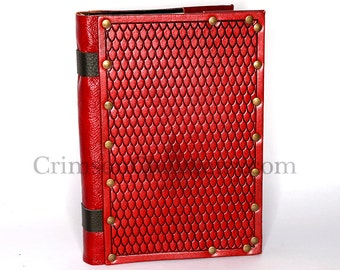 Leather Dragon Scale embossed sketchbook cover in red by Crimson Chain Leatherworks