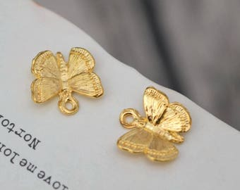 20 butterfly charms gold butterfly charm pendants