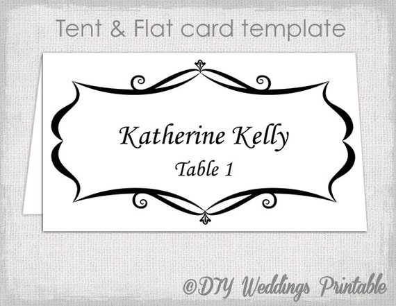 Place Card Template Tent And Flat Name Card Templates - Wedding name tag template
