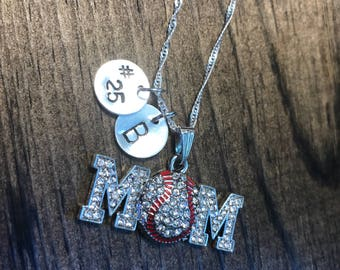 Personalized Baseball Mom Necklace Hand Stamped Necklace, Baseball Necklace, Baseball Jewelry, Personalized Baseball Necklace