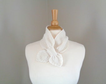 Ascot Scarf, Off White, Hand Knit, Pull Through, Neck Warmer, Scarflette, Merino Wool Alpaca Silk, Women's Fashion Bow Scarf