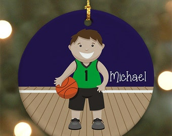 Personalized Basketball Ornament (Male version) - Personalized with Name