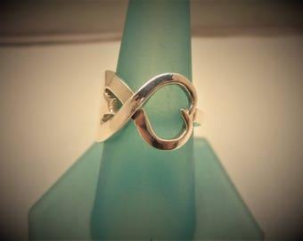 Sterling Silver Fork Heart Shape Ring
