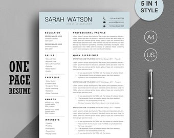 One Page Resume Template, Resume Template, Professional Resume Template For Word, References Page+Cover Letter, CV Template