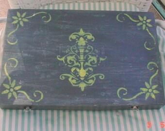 Cigar Box French Fleur de Lis Decorated Cottage Shabby Chic OOAK