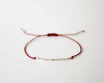 Handmade Tiny 925 Silver Beads with Maroon string bracelet