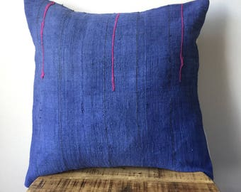 Indigo Hmong Embroidered Tribal Pillow Cover - Hand made in the hills of the Hmong Tribe - Indigo Sand with Pink