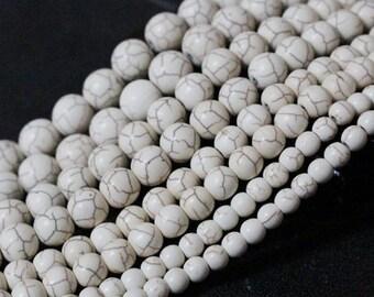 "Howlite beads 8mm, 10mm, 12mm, White Turquoise gemstone beads Jewelry making Beading supplies 15.5"" Full Strand White Howlite rownd beads"