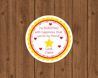 I'm Bursting With Happiness That You're My Friend Valentine's Day Tag, Starburst, Candy Valentine Tag
