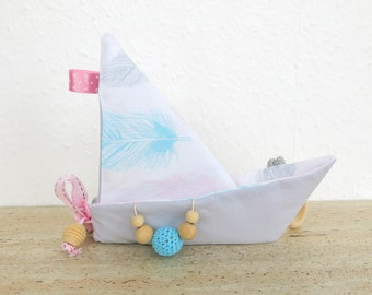 """Crinkle Baby Toy - Boat Shape Origami""""feathers"""""""