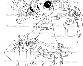 INSTANT DOWNLOAD Digital Digi Stamps Big Eye Big Head Dolls  IMG162 By Sherri Baldy