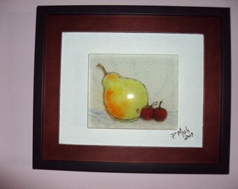 "Fused glass wall art . ""A Pear Anyone"" (framed)"