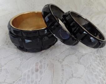 Vintage 1980s Black Bangles Lot of 3