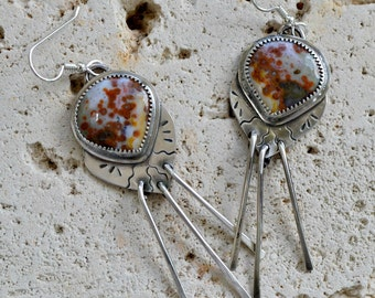 Ocean jasper sterling silver dangle earrings.  southwest style.