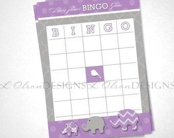 Elephant Baby Shower Bingo Game - Purple - DIY Printable - INSTANT DOWNLOAD