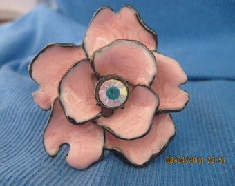 GORGEOUS Gunmetal,Pinkie Peach Enamel & Crystal Flower BIG and BOLD Statement Ring ...6836...Floral Ring, Big Bold Jewelry