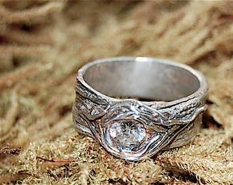 Wedding Rings Tree Bark Unique Engagement Tree Knot Unique Rustic ring Fine Silver Artisan Wedding Woodgrain Ethical stone