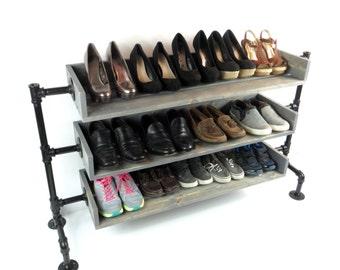 Pipe Shoe Rack, Shoes Rack, Shoe Organizer, Wood Shoe Rack, Industrial Rustic Country Shoe Organizer,  Industrial Shoe Rack, Shoe Rack