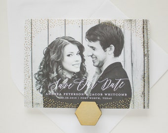 Foil Save the Date Cards, Foil Stamp Engagement Announcements in Gold, Modern Save the Dates, Foil Pressed Save the Dates | Shimmer