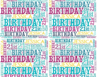 Personalised 21st Birthday Gift Wrap With Own Name Wordart