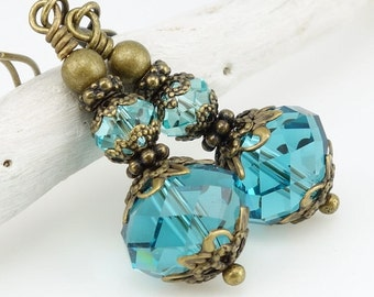 Vintage Inspired Crystal Earrings Antique Brass Jewelry Teal Blue Beaded Dangle Earrings Vintage Style Filigree Gifts for Women