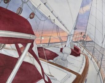The Diamond -  Sailboat Florida Nautical Bluewater Bay-   8 x 10