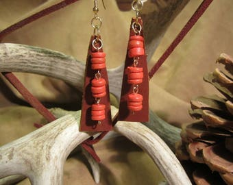 Brown leather and orange wooden beaded earrings