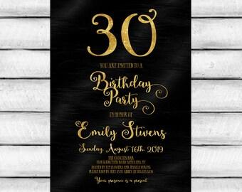 Black & Gold Birthday Party Invitation card Black paint and Gold Glitter sparkle Write Any Age 30 40 50 DIY Printable Digital JPEG PDF