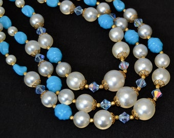 Vintage Necklace with Three Strands of Faux Pearls, Blue Plastic Beads, and Blue Glass Beads