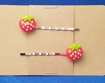 STRAWBERRY Fruit Food - Bobby PIn Hair Clip Accessory - Set of 2 Handmade