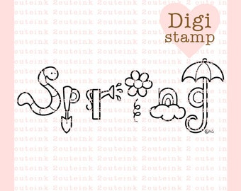 Spring Word Art Digital Stamp - Spring Stamp - Digital Spring Stamp - Spring word Art - Spring Card Supply - Spring Craft Supply