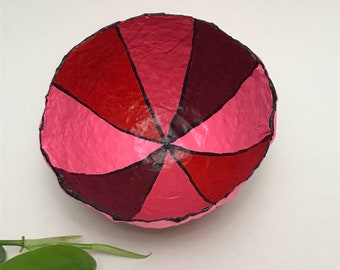 Colorful Bowl in papier-mache - Pink, Red, Purple