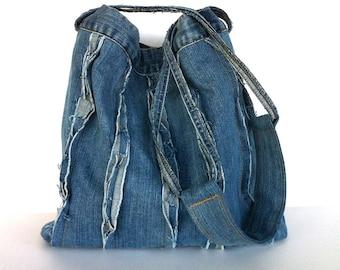 Shoulder tote bag Recycled shoulder bag Vegan Denim tote bag Blue jean shoulder bag Vegan bag Funky school bag , Upcycled shoulder purse