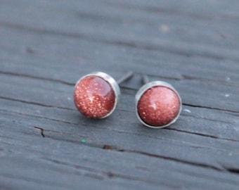 Goldstone Gemstone 6mm Bezel Set on Niobium or Titanium Posts (Nickel Free & Hypoallergenic Stud Earrings for Sensitive Ears)