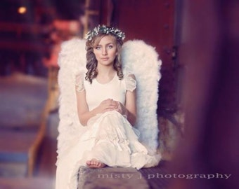 """Adult wings HUGE Angel  Pageant White feather Wing Costume  36.5"""" long WBFF Theme Wear Photography Photo Prop Valentines"""