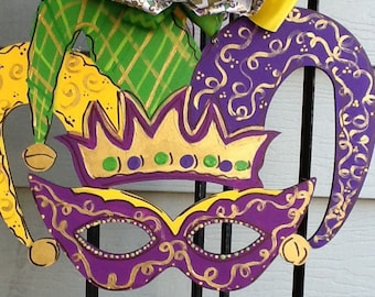 Mardi gras door hanger, mardi gras sign, mardi gras door sign, mardi gras mask, mardi grad crown, mardi gras decoration, mardi gras decor
