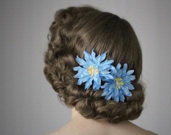 "Blue Flower Hair Clips, Turquoise Hair Accessories Set, 1950s Headpiece, Floral Fascinator, Vintage - ""Salt Water Siren"""