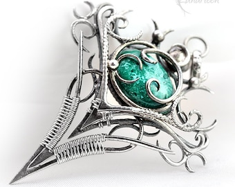 Wire wrapped pendant gift for her gift for woman special gift for girlfriend wire wrap chrysocolla pendant silver pendant gothic gift
