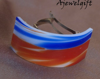 Red Blue and White Fused Glass Pony Tail Barrette