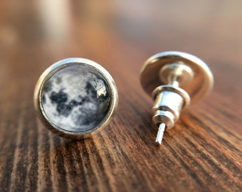 Moon Stud Earrings- Cabochon, Jewelry, Full Moon- 10mm, 12mm, 14mm